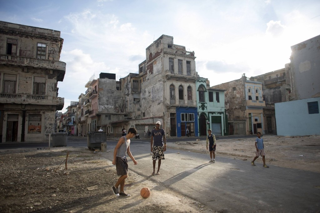 Soccer being played on the street in downtown Havana. REUTERS/Alexandre Meneghini