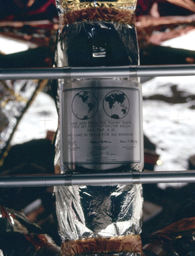 """Plaque on the Apollo 11 Lunar Module that reads, """"Here men from the planet Earth first set foot upon the moon July 1969"""". NASA Photo"""