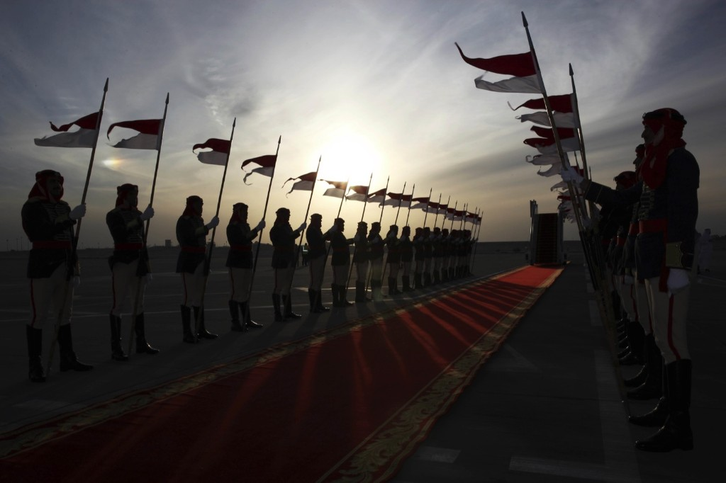 A Bahraini honor guard await the arrival of Britain's Prince Charles and his wife Camilla in Manama. AP Photo/Jon Gambrell