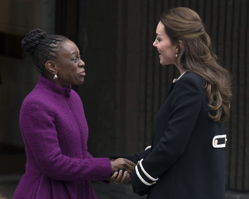 New York City first lady Chirlane McCray and Britain's Kate, Duchess of Cambridge outside the Northside Center for Child Development, Monday in New York. AP Photo/John Minchillo