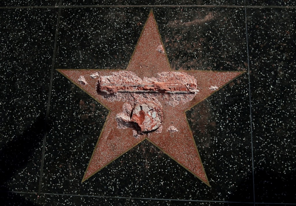 Donald Trump's star on the Hollywood Walk of Fame after it was vandalized in Los Angeles. REUTERS/Mario Anzuoni
