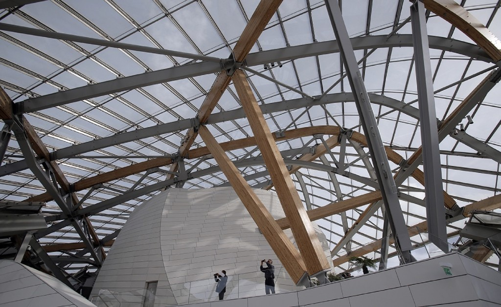 Inside the Louis Vuitton Foundation art museum and cultural center. AP Photo/Christophe Ena