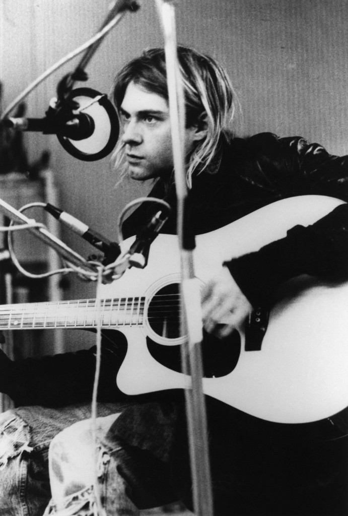 Cobain recording at Hilversum Studios in the Netherlands. Michel Linssen/Redferns