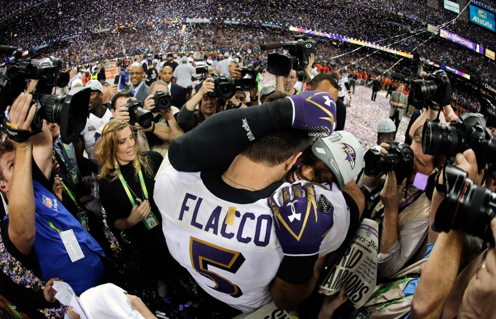 Ravens quarterback Joe Flacco celebrates with linebacker Ray Lewis after defeating the 49ers, 34-31, in Super Bowl XLVII, Feb. 2013, in New Orleans. AP Photo/Matt Slocum