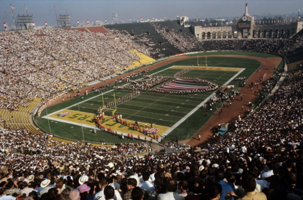 The Green Bay Packers and Kansas City Chiefs in the NFL/AFL championship game at the Los Angeles Memorial Coliseum, Jan. 1967. Neil Leifer /Sports Illustrated/Getty Images