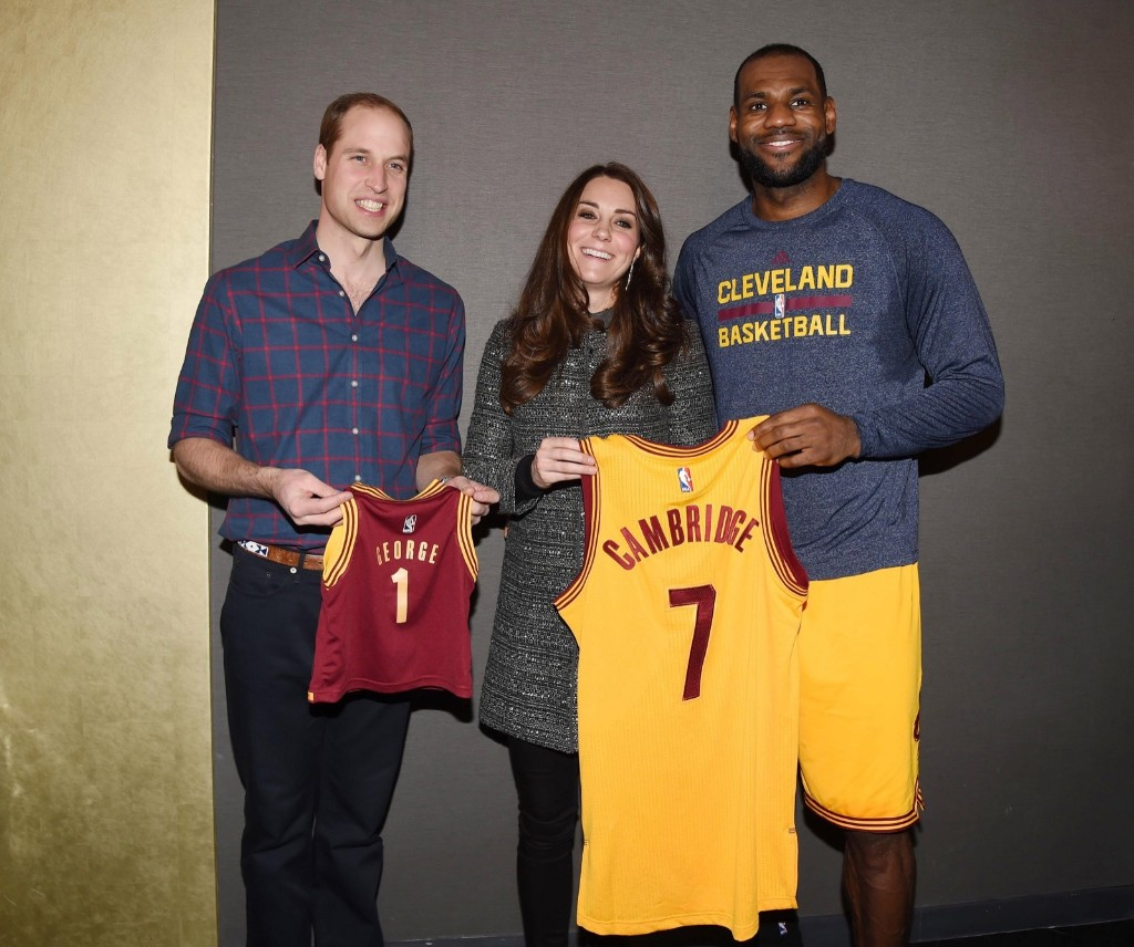 Prince William, Duke of Cambridge and Catherine, Duchess of Cambridge with basketball player LeBron James after the Cleveland Cavaliers vs. Brooklyn Nets NBA game in New York, Monday. Tim Rooke-Pool/Getty Images