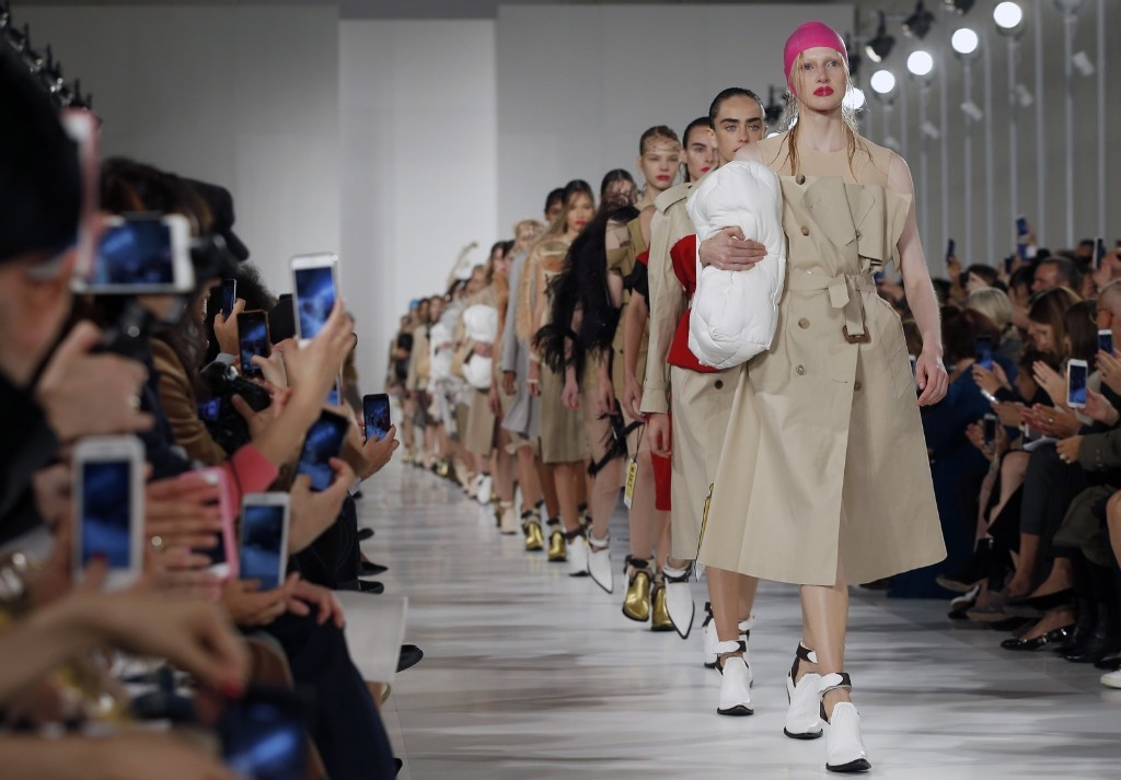 Models walk the runway during the Maison Margiela show. Thierry Chesnot/Getty Images