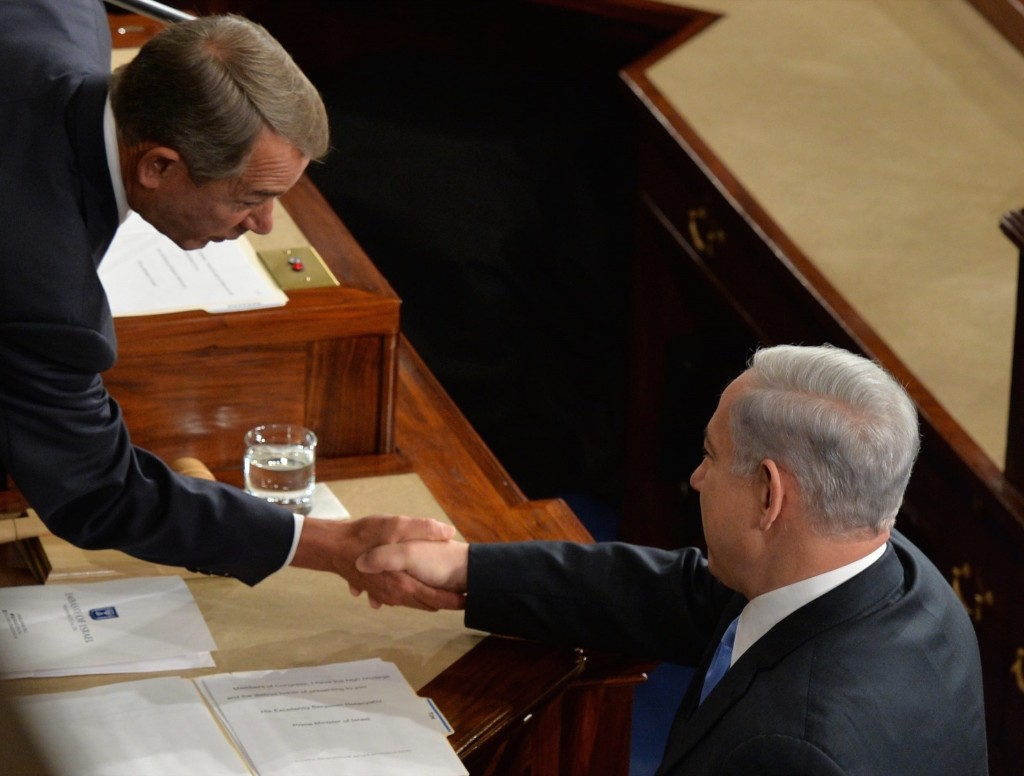 Israeli Prime Minister Benjamin Netanyahu greets Speaker of the House John Boehner before he addressed a joint meeting of the U.S. Congress, Tuesday, Washington. Nicholas Kamn/AFP/Getty Images