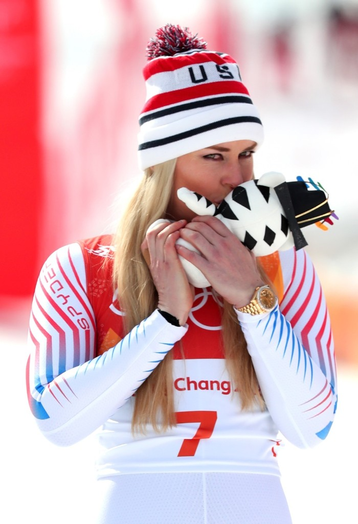 Bronze medalist Lindsey Vonn during the victory ceremony for the women's downhill. Tom Pennington/Getty Images