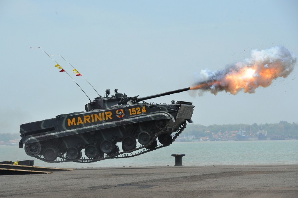 An Indonesian marine tank launches missiles during the 69th Republic of Indonesian Military Anniversary in Surabaya. Robertus Pudyanto/Getty Images