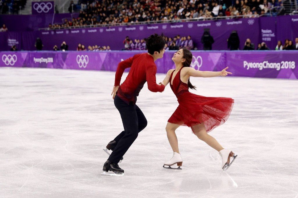 Maia and Alex Shibutani of the U.S. taking bronze in the ice dance. Maddie Meyer/Getty Images