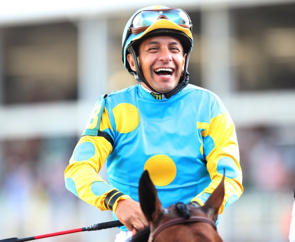 Jockey Victor Espinoza atop of American Pharoah on his way to winners circle after winning the 141st running of the Kentucky Derby, at Churchill Downs, Saturday, in Louisville. Chris Graythen/Getty Images