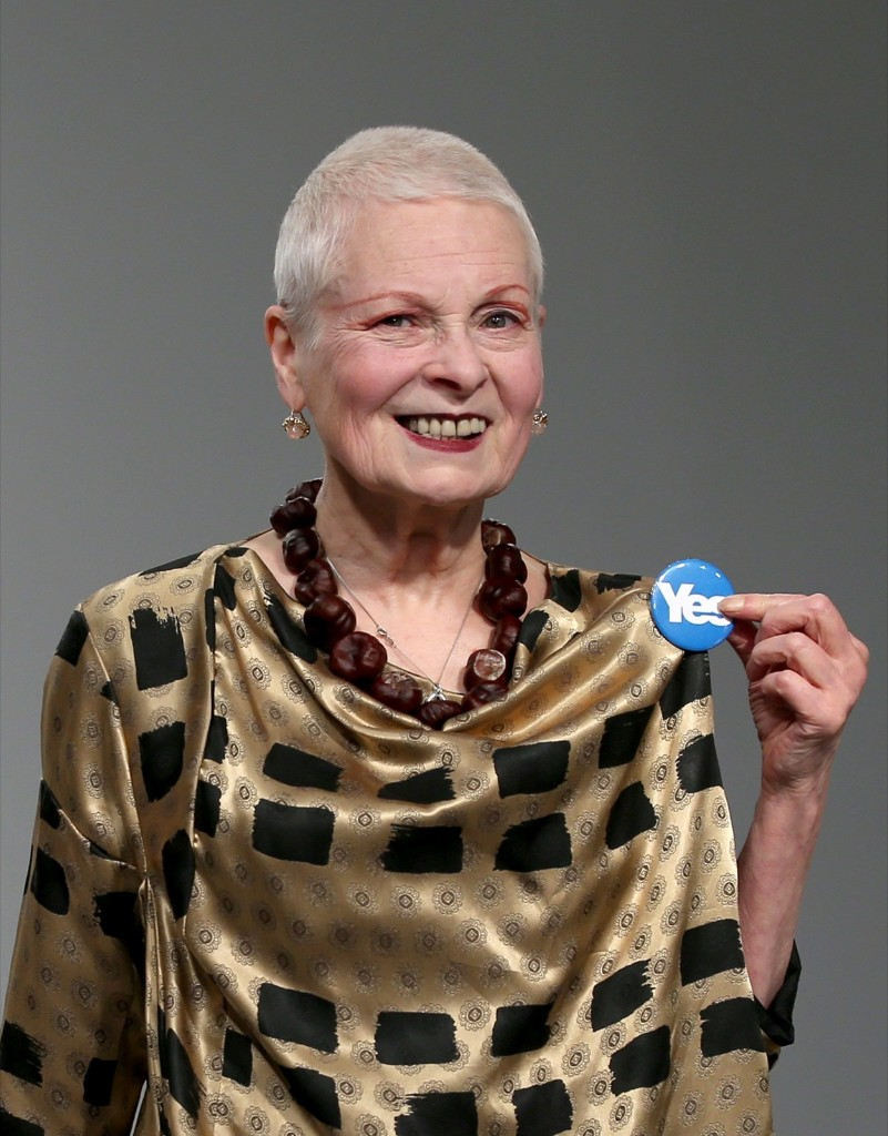 "Designer Vivienne Westwood displays her ""Yes"" badge, in reference to Scotland's independence referendum. Mike Marsland/WireImage"