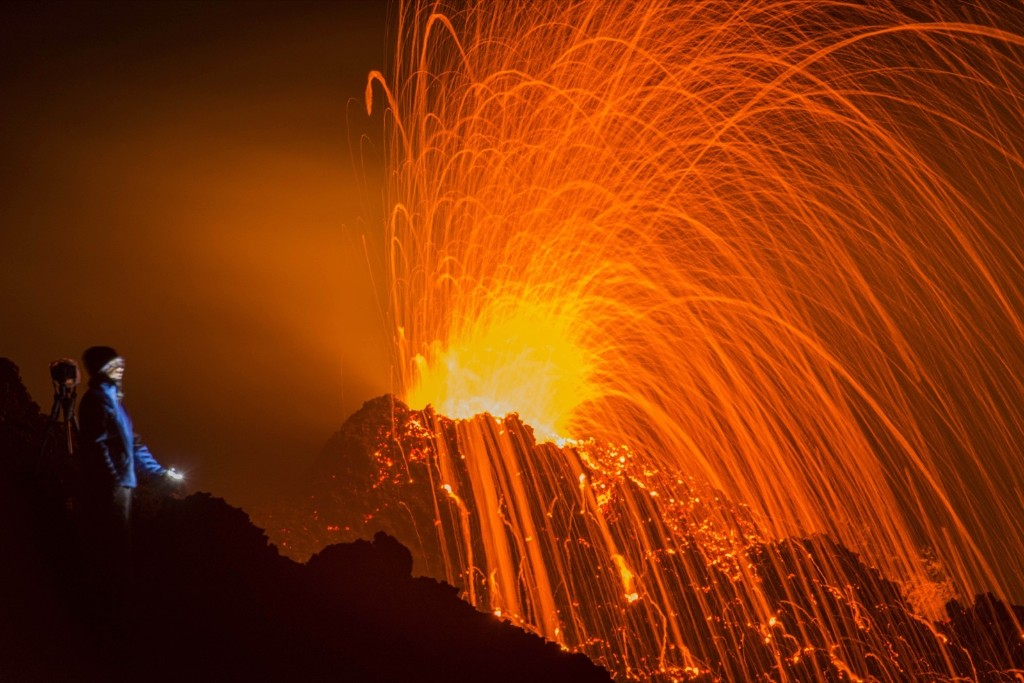 The Piton de la Fournaise volcano erupting on the Indian Ocean island of La Reunion. AP Photo/Fabrice Wislez