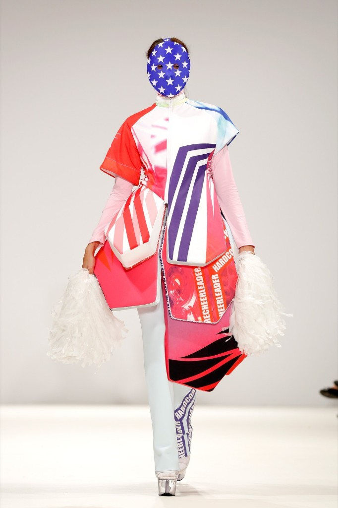 A model walks the runway at the Swedish School of Textiles show. Tristan Fewings/Getty Images