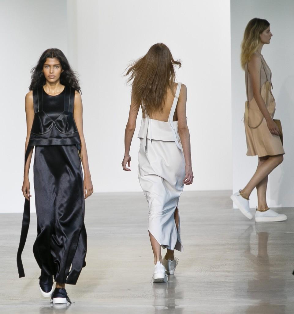 Fashion from the Calvin Klein Spring 2016 collection. AP Photo/Bebeto Matthews