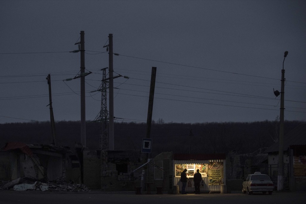 A store is open on the outskirts of Slovyansk, eastern Ukraine. AP Photo/Evgeniy Maloletka
