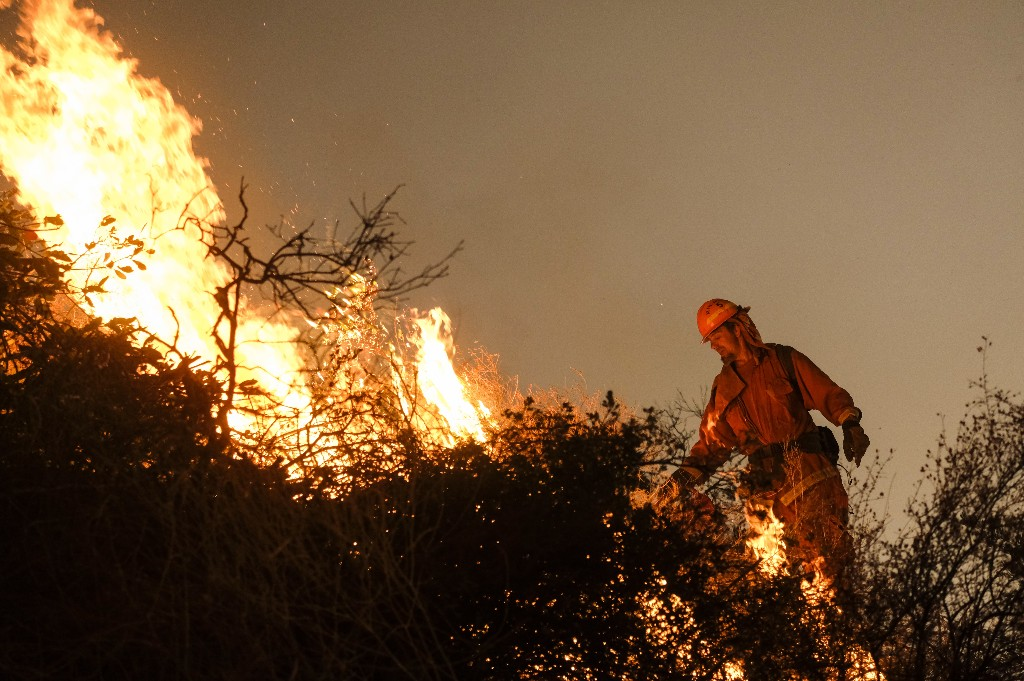 A firefighter sets a backburn to fight the Holy Fire as it burns in the Cleveland National Forest along a hillside at Temescal Valley in Corona, Calif., Thursday, Aug. 9, 2018. Firefighters fought a desperate battle to stop the wildfire from reaching homes as the blaze surged through the forest above the city of Lake Elsinore and its surrounding communities. (AP Photo/Ringo H.W. Chiu)