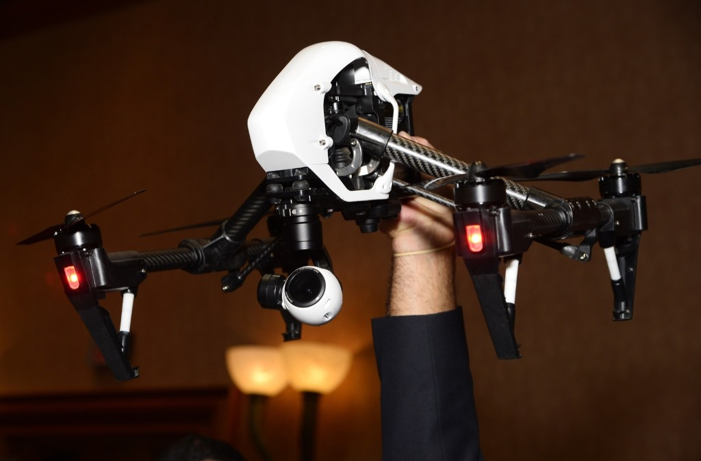 The DJI Inspire 1 quadcopter can fly up to 18 minutes and shoot up to 4K video and 12-megapixel still photos. ROBYN BECK/AFP/Getty Images