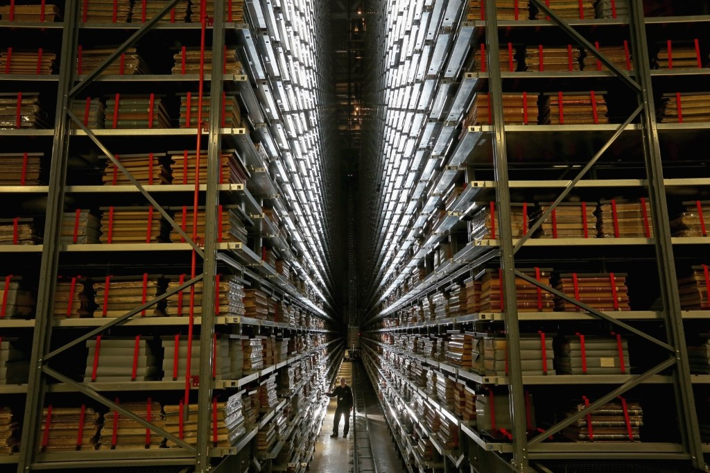 Resident engineer John Roberts looks at the millions of newspapers stored on racks at the National Newspaper Archive in Boston Spa, UK. Christopher Furlong/Getty Images