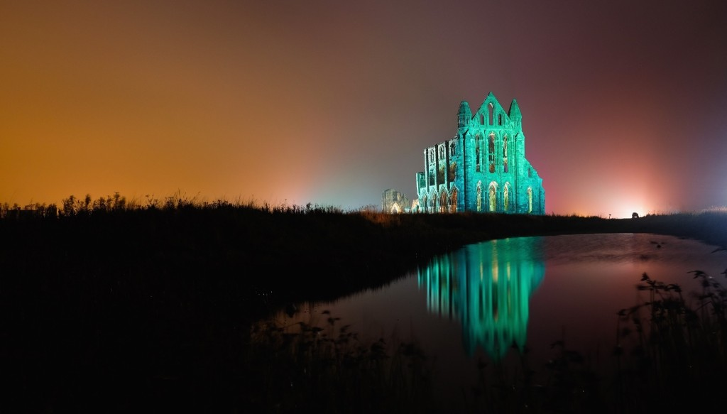 A spectacular light display illuminates the historic Whitby Abbey for Halloween, in England. The Abbey was part of the inspiration for Bram Stoker's novel, 'Dracula', and sits on East Cliff in a commanding position overlooking the North Sea. Ian Forsyth/Getty Images