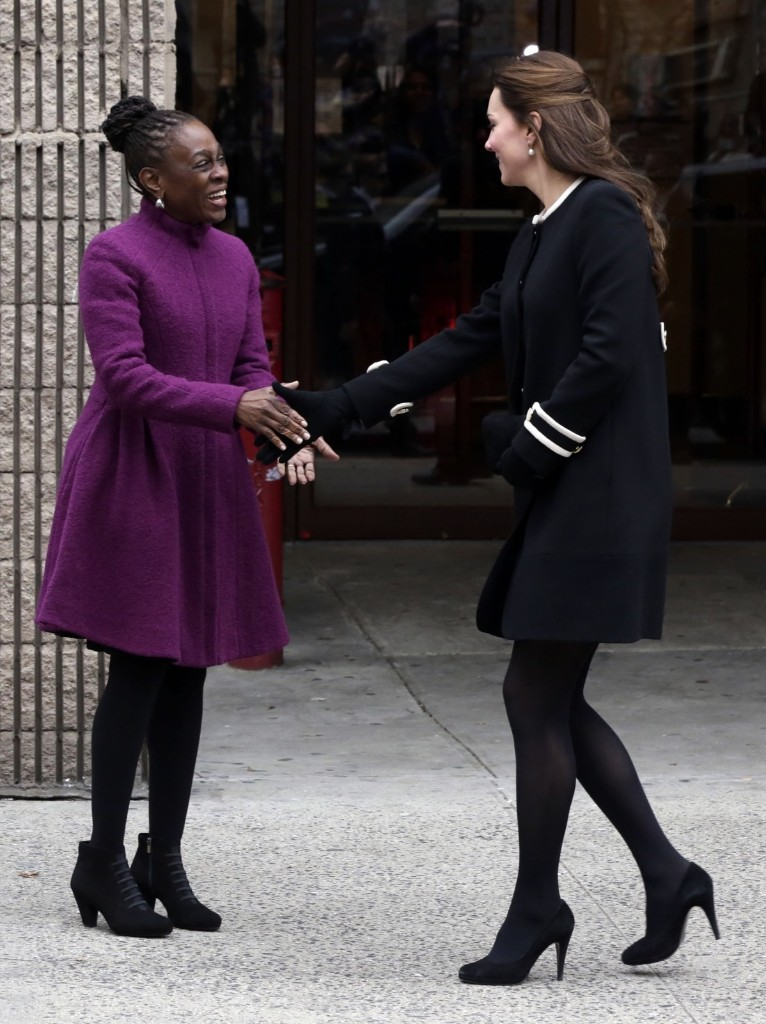 Kate, Duchess of Cambridge and Chirlane McCray, wife of New York Mayor Bill de Blasio, at the Northside Center in New York, Monday. AP Photo/Richard Drew