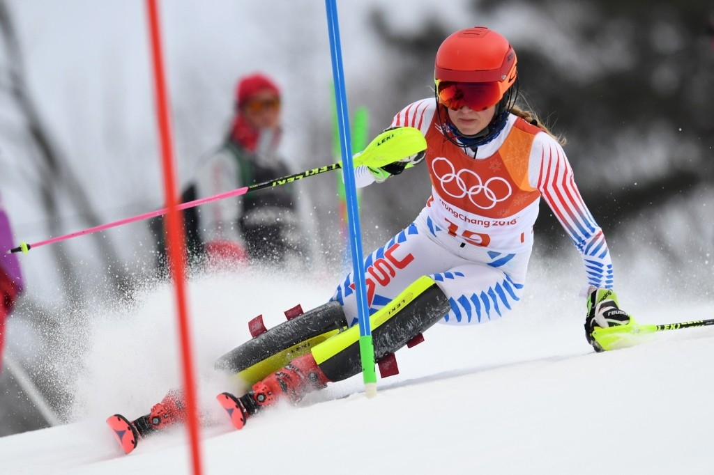 Mikaela Shiffrin taking silver in the women's alpine combined slalom. JAVIER SORIANO/AFP/Getty Images