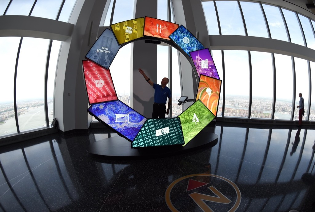 The City Pulse ring is seen at the One World Observatory in New York, Wednesday. Timothy A. Clary/AFP/Getty Images
