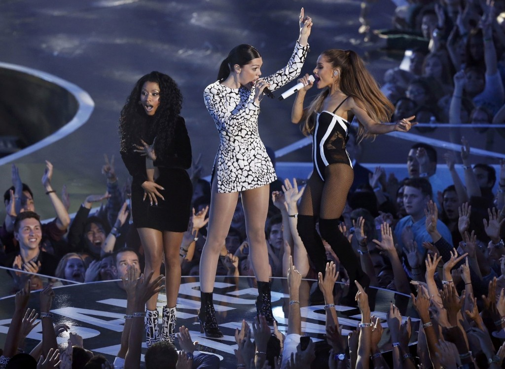 "Nicki Minaj, Jessie J and Ariana Grande open the 2014 MTV Video Music Awards performing ""Bang Bang"". REUTERS/Mario Anzuoni"