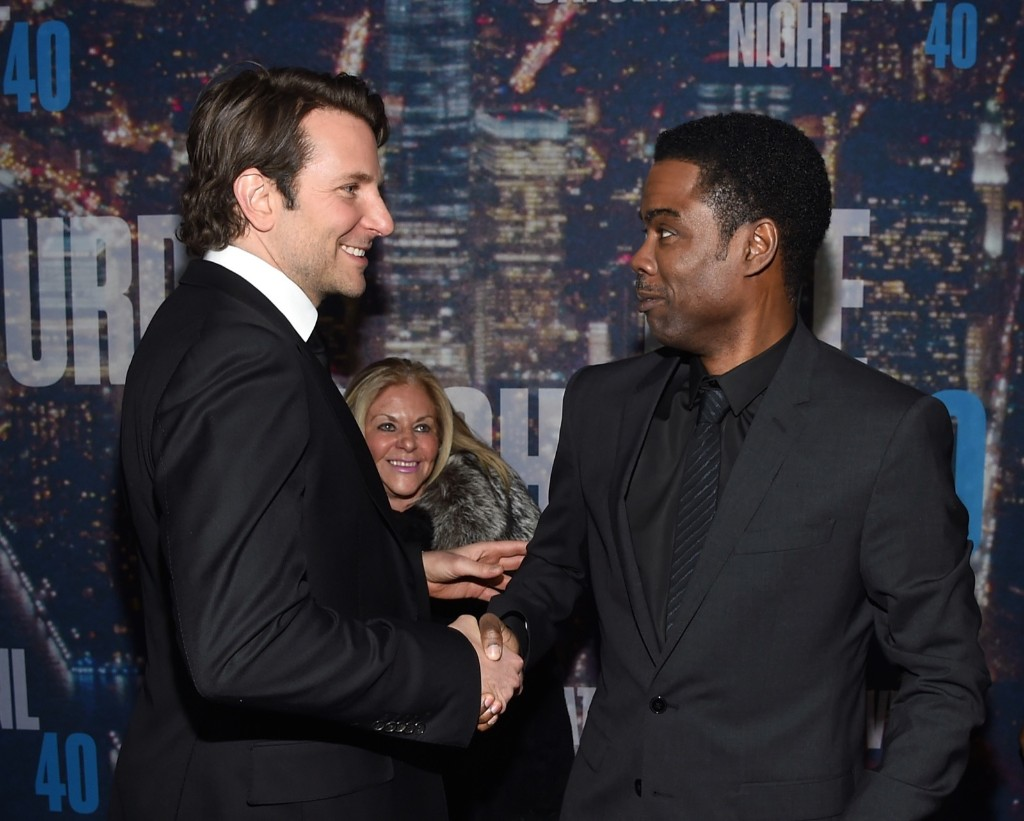 Bradley Cooper and Chris Rock attend the SNL 40th Anniversary Special, Sunday, in New York. Larry Busacca/Getty Images