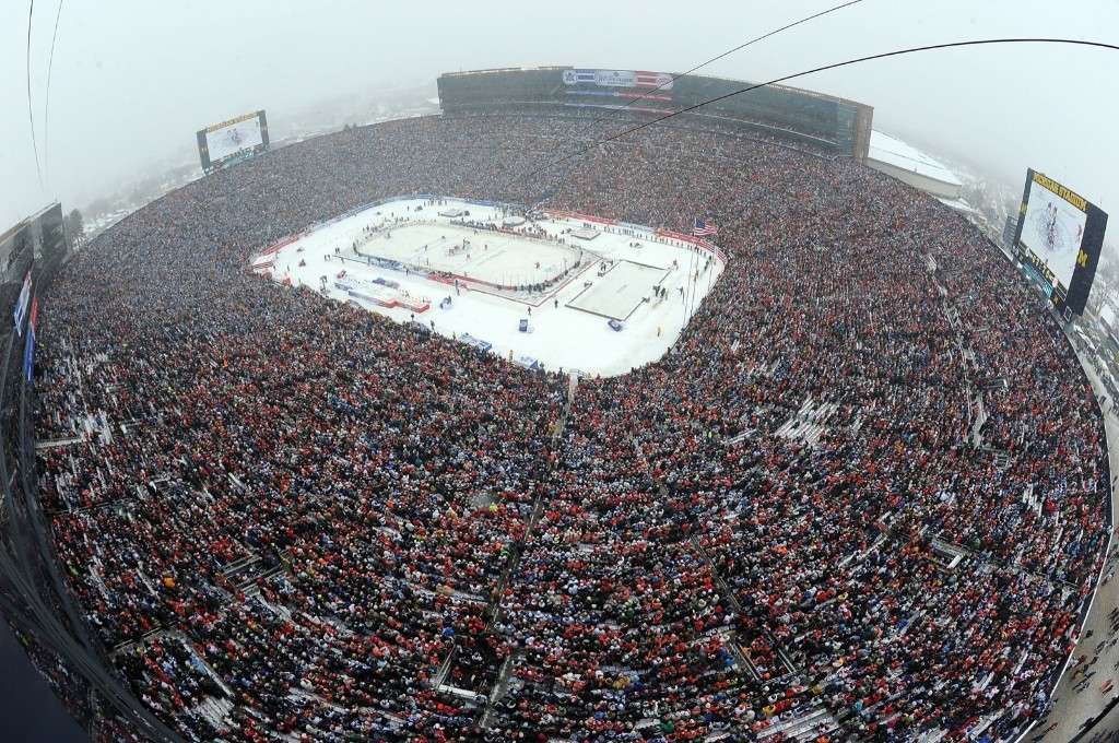 A record crowd of 105,491, the largest ever to see a hockey game, braved the snow and cold to attend the NHL Winter Classic at Michigan Stadium on New Year's Day. Noah Graham-Pool/Getty Images