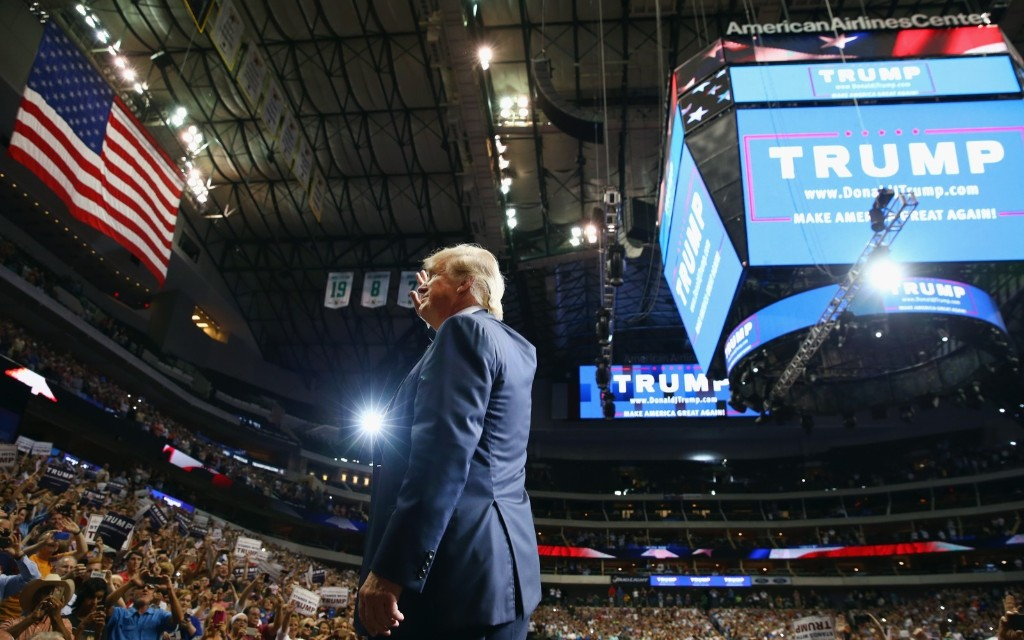 Donald Trump during a campaign rally in Dallas. Tom Pennington/Getty Images