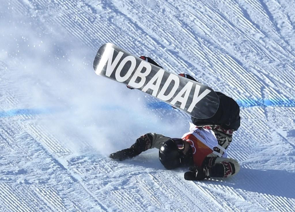 Sebastien Toutant of Canada crashes during men's slopestyle final. REUTERS/Dylan Martinez