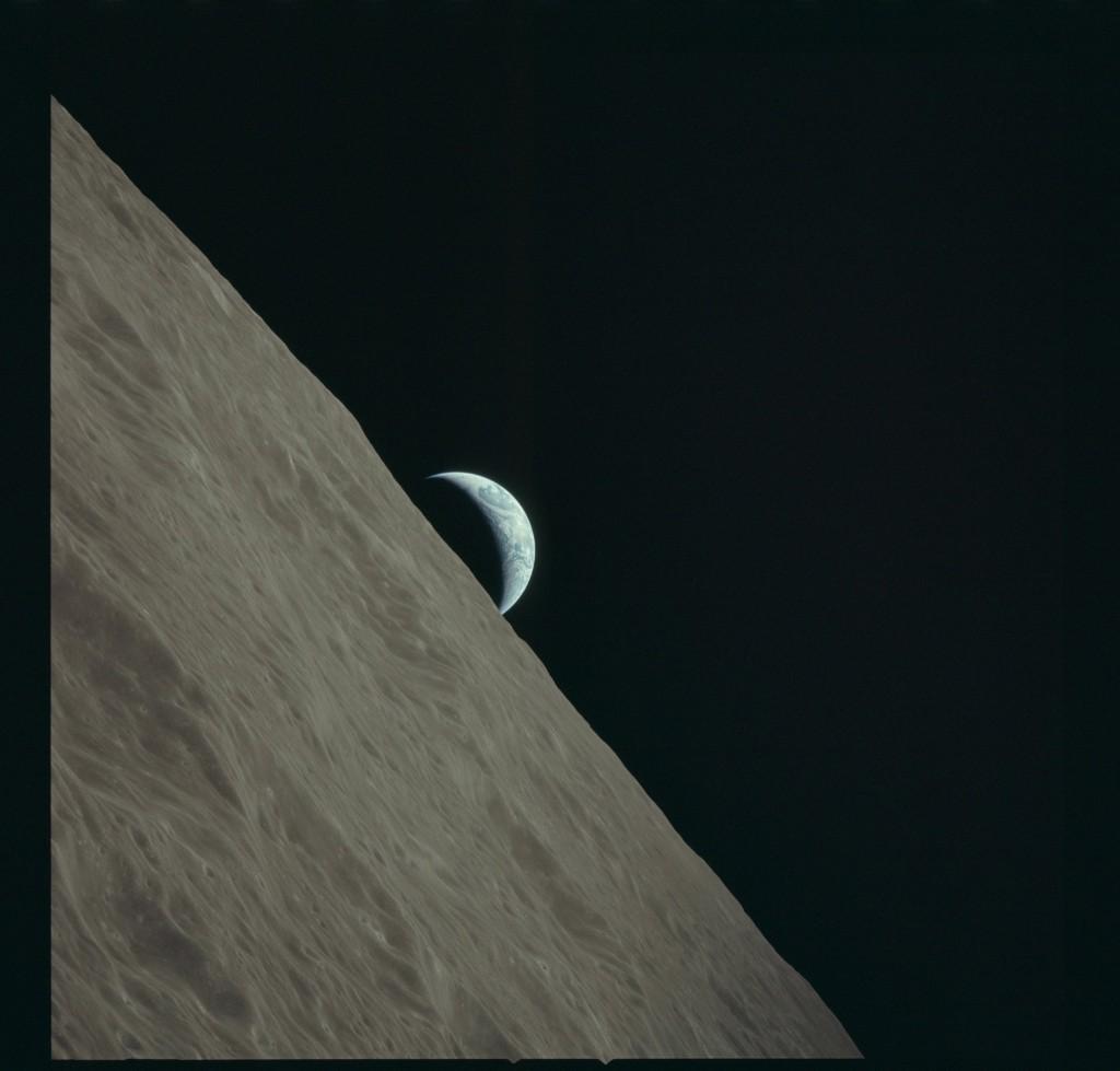 Apollo 17 Hasselblad image from film magazine 152/PP - Lunar orbit, Transearth coast, SIM Bay EVA / film retrieval. NASA Photo