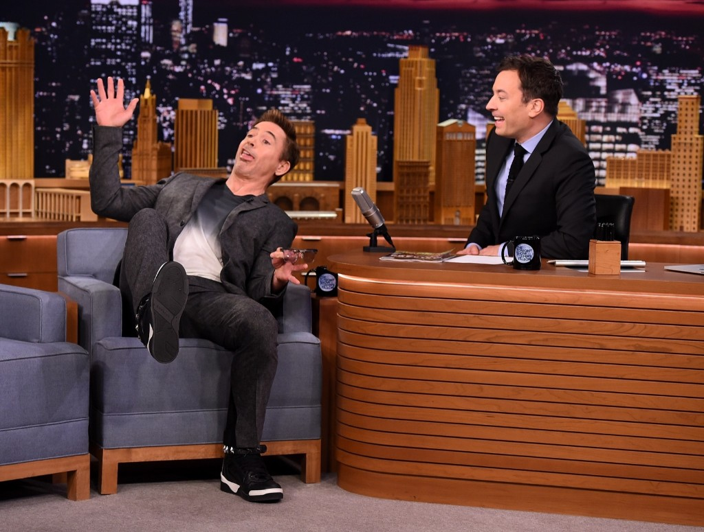 "Robert Downey Jr. on ""The Tonight Show Starring Jimmy Fallon"", April 27, 2015 in New York. Theo Wargo/NBC/Getty Images"