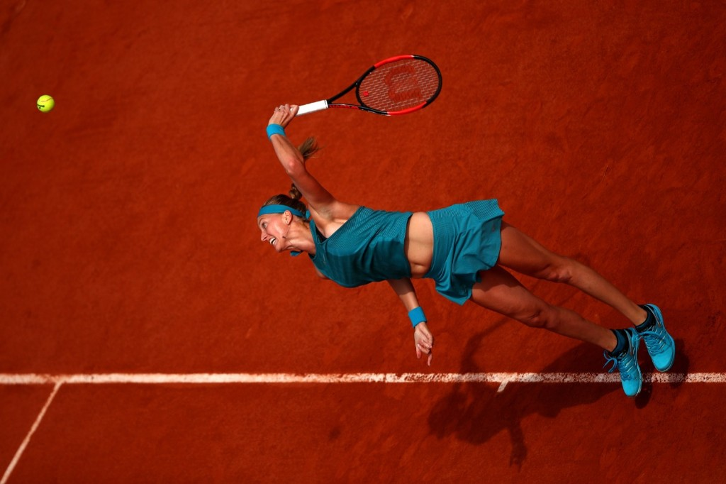 Petra Kvitova of Czech Republic serves to Veronica Cepede Royg of Paraguay during day two of the French Open at Roland Garros. Clive Brunskill/Getty Images