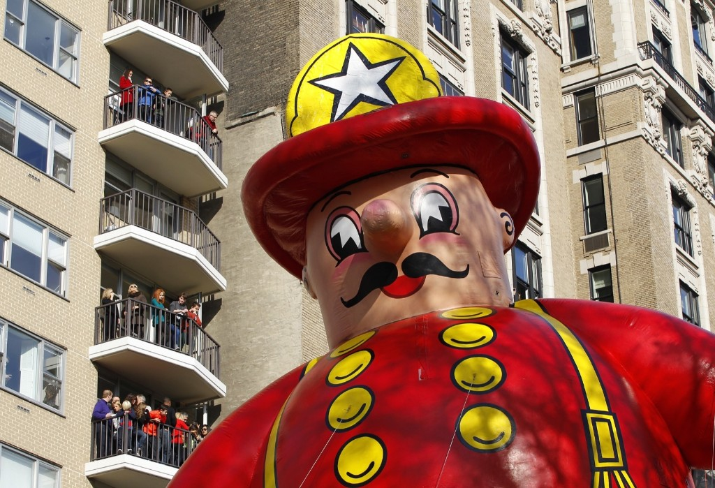 The Harold the Fireman balloon floats down Central Park West in the Macy's Thanksgiving Day Parade in New York, November 26, 2015.