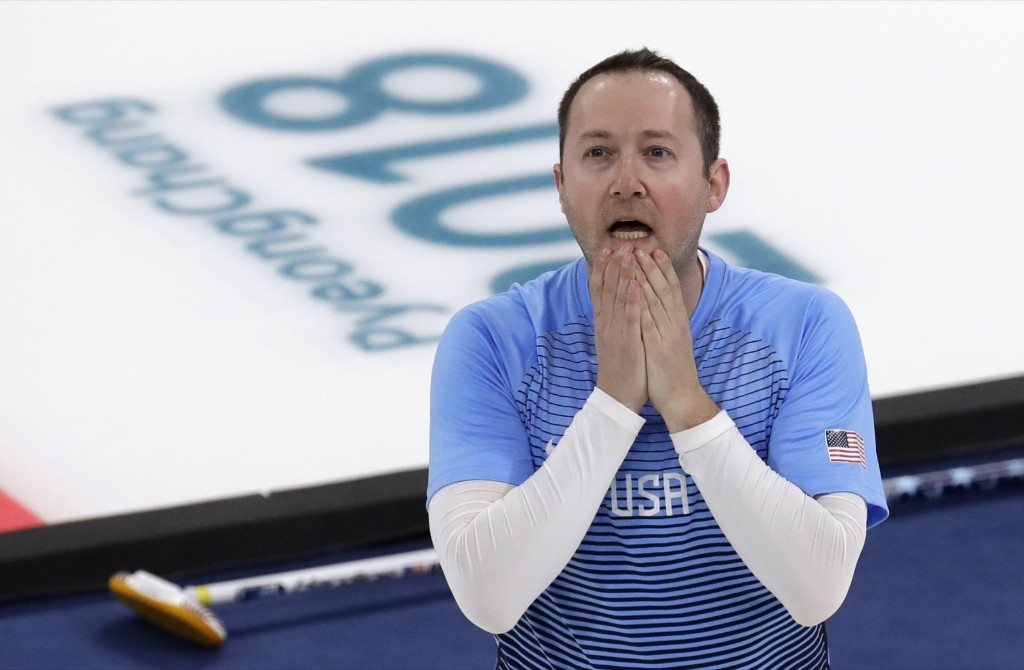 Tyler George of the U.S. as they defeated Sweden to win the gold in curling. AP Photo/Aaron Favila