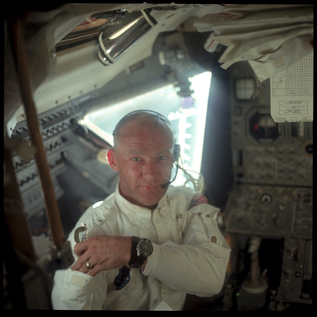 This interior view of the Apollo 11 Lunar Module shows Astronaut Edwin E. Aldrin, Jr., lunar module pilot, during the lunar landing mission. This picture was taken by Astronaut Neil A. Armstrong, commander, prior to the moon landing. NASA Photo