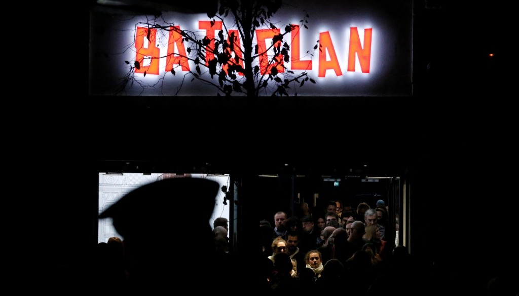 People leave the Bataclan concert hall in Paris after Sting performed a special reopening concert one year after the deadly Paris attacks. REUTERS/Christian Hartmann