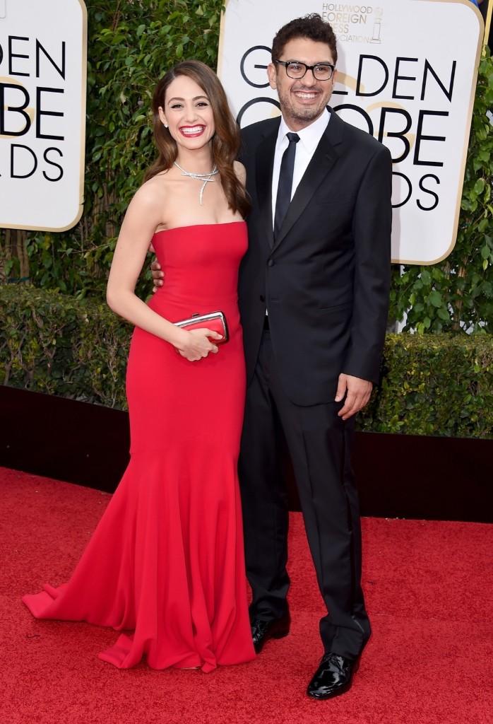 Emmy Rossum and Sam Esmail at the Golden Globe Awards. Steve Granitz/WireImage