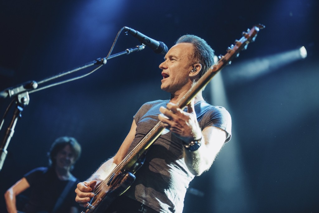 Sting performs on stage at the Bataclan concert hall in Paris, marking the reopening of the concert hall one year after suicidal jihadis turned it into a bloodbath and killed 90 revelers. Boris Allin/Universal Music France via AP