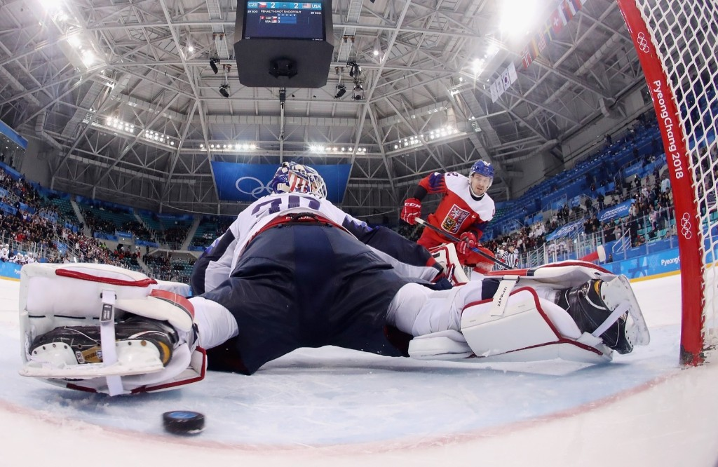 Petr Koukal of the Czech Republic scores the game-winning goal against Ryan Zapolski of the U.S. in the overtime shootout to win, 3-2, and eliminate the U.S. Ronald Martinez/Getty Images