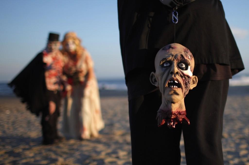Revellers take part in Zombie Walk, Asbury Park, NJ, Oct. 4. REUTERS/Eduardo Munoz