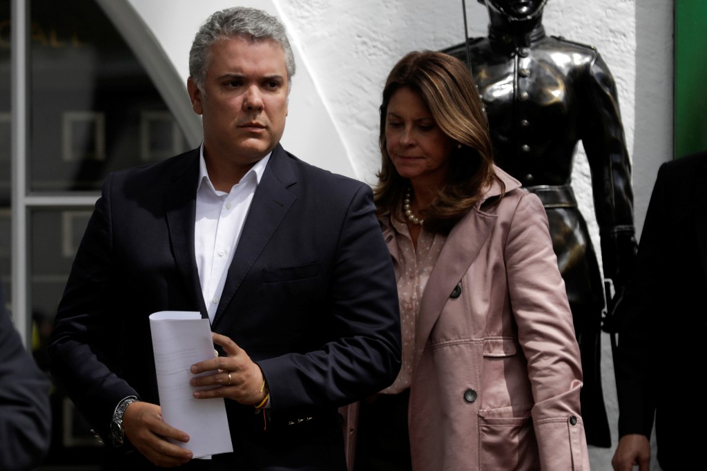 Colombia's President Ivan Duque and Colombia's Vice President, Marta Lucia Ramirez, attend a news conference, in Bogota, Colombia January 17, 2019. REUTERS/Luisa Gonzalez