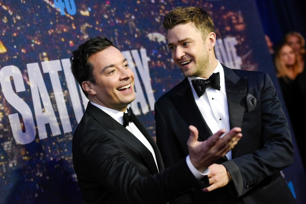 Jimmy Fallon and Justin Timberlake attend the SNL 40th Anniversary Special, Sunday, in New York. Evan Agostini/Invision/AP