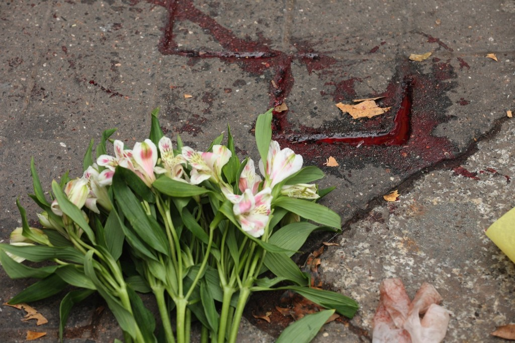 A floral tribute near the scene of the Bataclan terrorist attack. Christopher Furlong/Getty Images