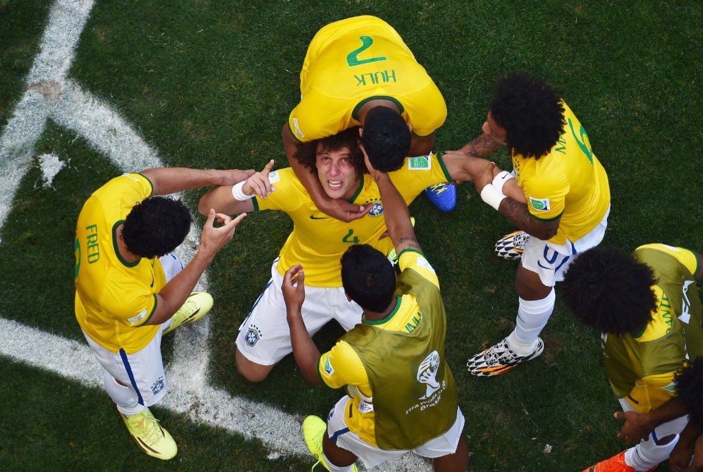 David Luiz of Brazil after scoring his team's first goal. Francois Xavier Marit/Pool/Getty Images