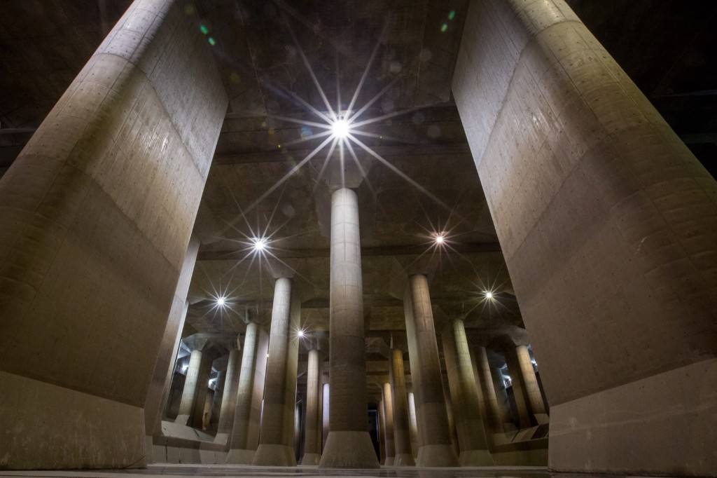 Inside the enormous pressure-adjusting underground water tank at the Metropolitan Area Outer Underground Discharge Channel facility in Tokyo. Chris McGrath/Getty Images
