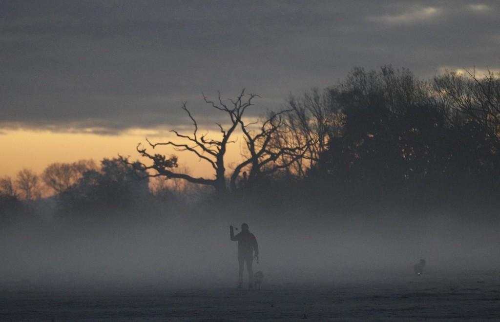 A woman walks dogs through morning mist in Quorn, Britain. REUTERS/Darren Staples